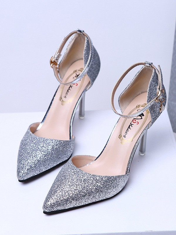 Frauen Closed Toe Sparkling Glitter Pfennigabsatz High Heels